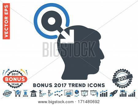 Smooth Blue Brain Interface Plug-In icon with bonus 2017 trend images. Vector illustration style is flat iconic bicolor symbols white background.