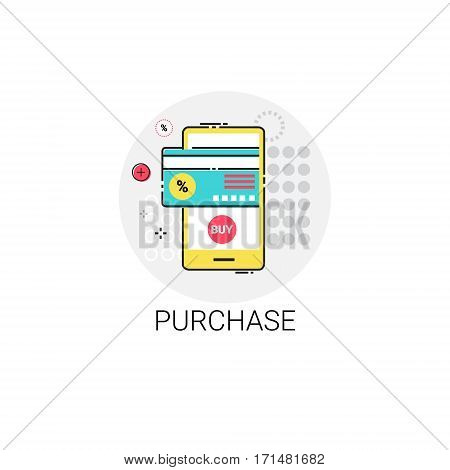 Mobile Purchase Shopping Online Icon Vector Illustration