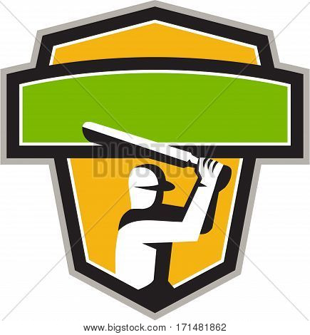 Illustration of a cricket player batsman with bat batting viewed from front set inside shield crest on isolated background done in retro style.