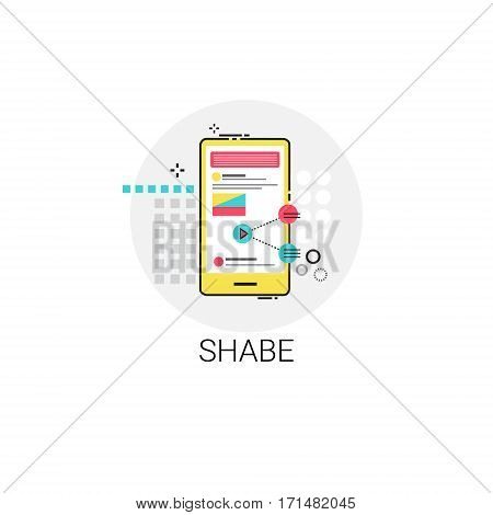 Share App Data Storage Cell Smart Phone Icon Vector Illustration