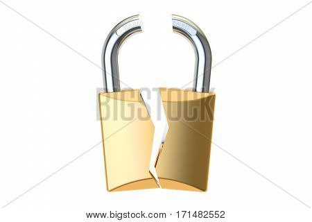 Hacked padlock 3D rendering isolated on white background