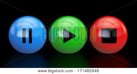 media player buttons 3D rendering isolated on black background