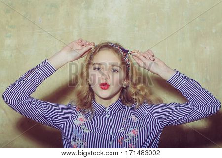 Flirting Pretty Girl In Blue Striped Shirt Ties Headband