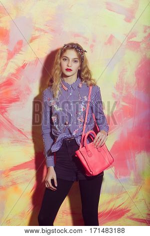Pretty Girl With Stylish Pink Bag