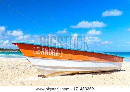 Orange And White Pleasure Boat