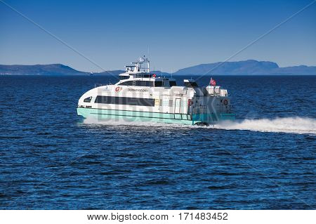 Fast Passenger Ferry Boat Trondheimsfjord