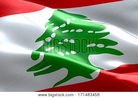 Flag Of Lebanon Strip Waving Texture Fabric Background, National Symbol Arabic Islam Culture