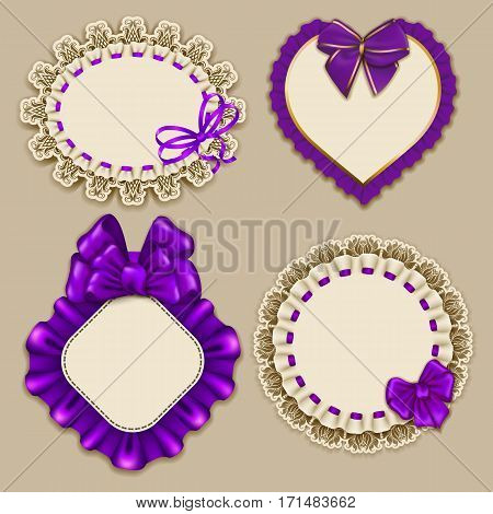 Set of elegant templates ornate frames for design luxury invitation, gift, greeting card, postcard with lace ornament, ruffles, purple bows, ribbons, place for text. Vector illustration EPS10