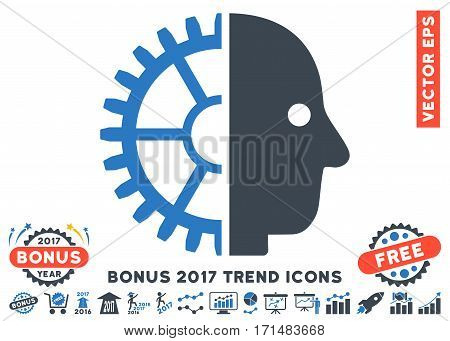 Smooth Blue Cyborg Head icon with bonus 2017 trend clip art. Vector illustration style is flat iconic bicolor symbols white background.