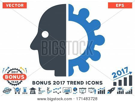 Smooth Blue Cyborg Head pictogram with bonus 2017 year trend symbols. Vector illustration style is flat iconic bicolor symbols white background.