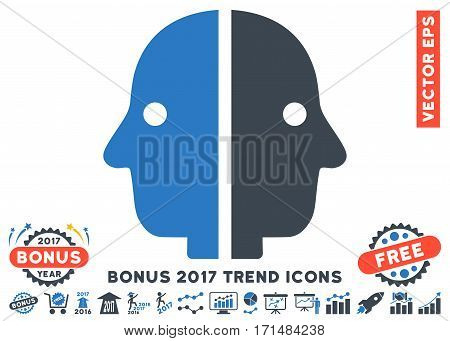 Smooth Blue Dual Face pictogram with bonus 2017 year trend images. Vector illustration style is flat iconic bicolor symbols white background.