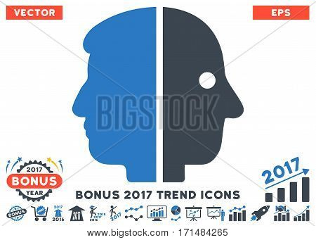 Smooth Blue Dual Face pictograph with bonus 2017 trend pictograph collection. Vector illustration style is flat iconic bicolor symbols white background.