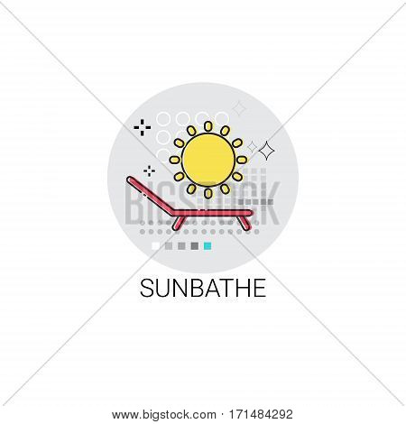 Sunbathe Relaxation Resort Area Holiday Vacation Icon Vector Illustration
