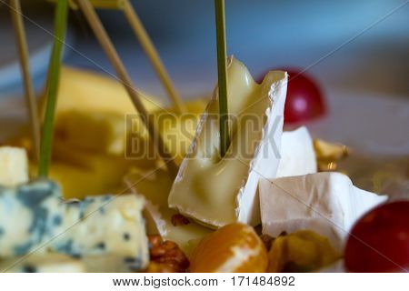 Delicious cheese plate with blue roquefort brie camambert gauda with garnishes grapes oranges and nuts on blurred background