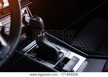 manual shift of modern car gear shifter.