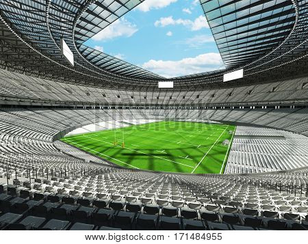 3D Render Of A Round Rugby Stadium With  White Seats And Vip Boxes