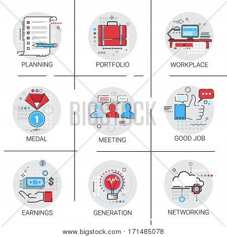 New Idea Generation Light Bulb Business Workplace Meeting Icon Set Earnings Cooperation Planning Vector Illustration