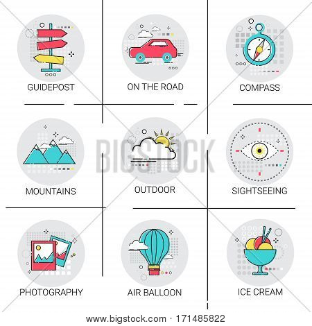Air Balloon Mountains Car Trip Travel Tourism Icon Set Holiday Vacation Vector Illustration