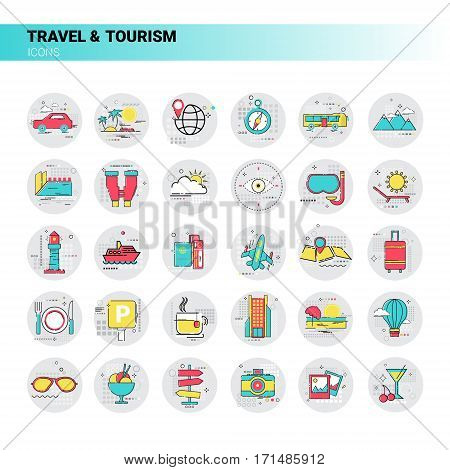 Trip Travel Tourism Icon Set Holiday Vacation Vector Illustration