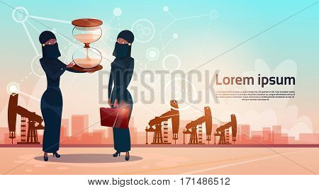 Arab Woman With Sand Watch Money Pumpjack Oil Rig Crane Platform Wealth Concept Flat Vector Illustration