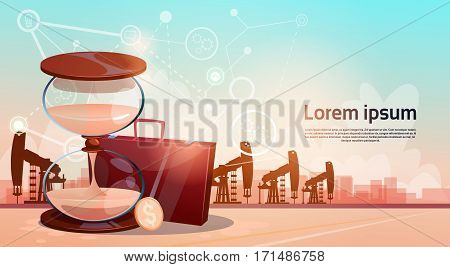 Sand Watch Money Pumpjack Oil Rig Crane Platform Wealth Concept Flat Vector Illustration