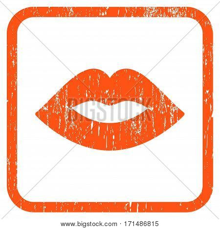 Lips rubber watermark. Vector pictogram symbol inside rounded rectangle with grunge design and scratched texture. Stamp seal illustration. Unclean orange ink sign on a white background.