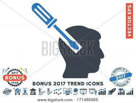 Smooth Blue Head Screwdriver Tuning pictograph with bonus 2017 trend pictures. Vector illustration style is flat iconic bicolor symbols white background.