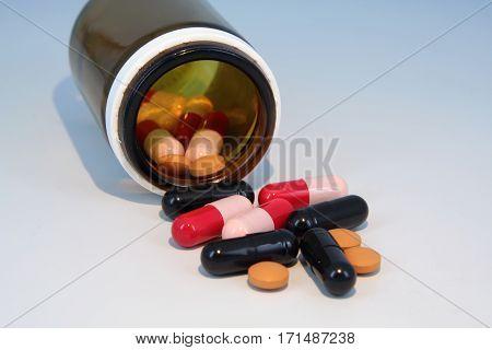 Medical pills. Medicine antiobiotic pills. Medicine pills.