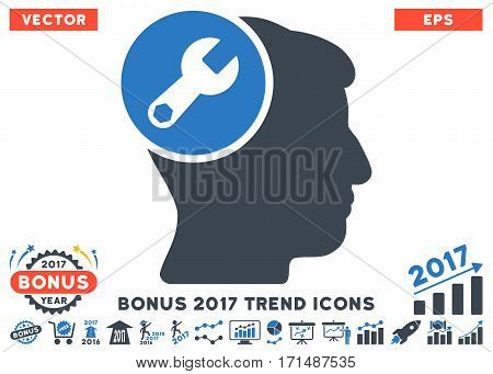 Smooth Blue Head Wrench Repair pictograph with bonus 2017 year trend symbols. Vector illustration style is flat iconic bicolor symbols white background.