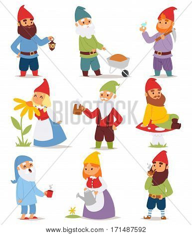 Gnome garden set funny little character cute fairy tale dwarf man in cap and cartoon holiday old leprechaun gardening male vector illustration. Myth costume winter fairytale santa toy decoration.