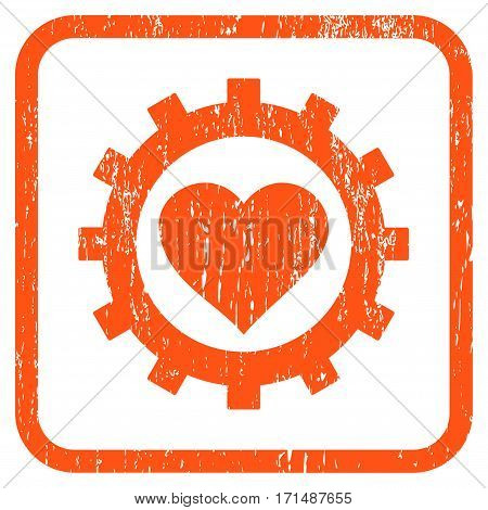 Love Heart Options Gear rubber watermark. Vector pictogram symbol inside rounded rectangular frame with grunge design and scratched texture. Stamp seal illustration.