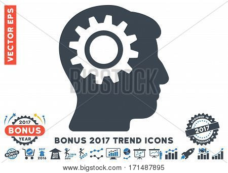 Smooth Blue Intellect Gear icon with bonus 2017 year trend icon set. Vector illustration style is flat iconic bicolor symbols white background.