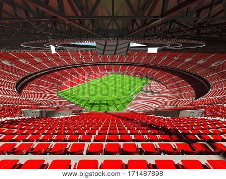 3D render of a round rugby stadium with red seats and VIP boxes for hundred thousand people