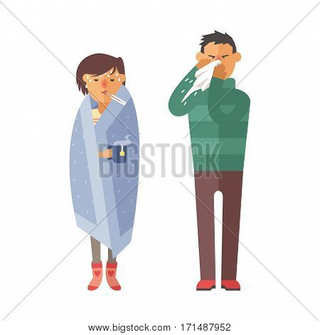 Illness flu people feeling cold and blowing his nose vector illustration. Healthcare blowing sneeze symptom sickness temperature person. Influenza allergy male.