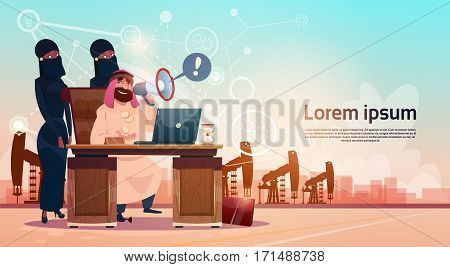 Arab Business Man Working WIth Laptop Computer Pumpjack Oil Rig Crane Platform Background Wealth Concept Flat Vector Illustration