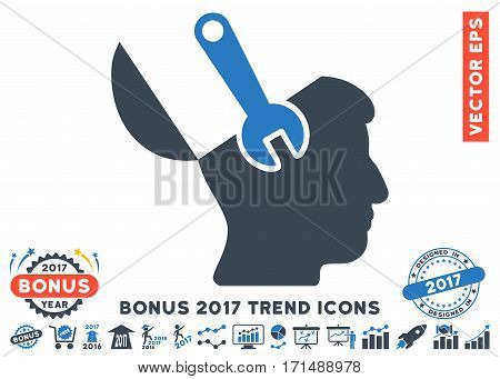 Smooth Blue Mind Wrench Surgery pictogram with bonus 2017 year trend pictograms. Vector illustration style is flat iconic bicolor symbols white background.