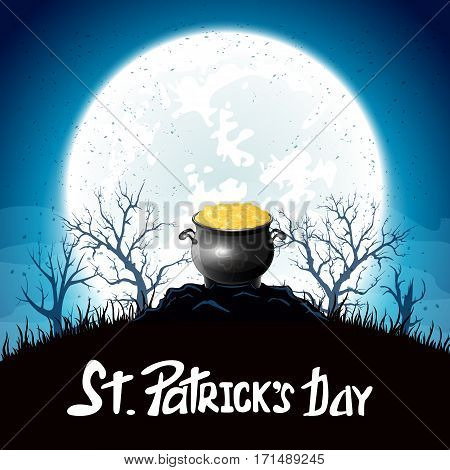 Night background of St. Patrick's Day with gold leprechaun, holiday lettering Happy St. Patricks Day, illustration.