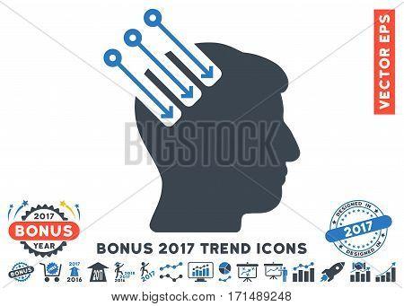 Smooth Blue Neuro Interface pictogram with bonus 2017 year trend symbols. Vector illustration style is flat iconic bicolor symbols white background.