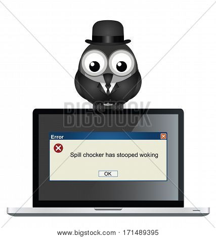 Comical spell checker error with misspelt message on laptop isolated on white background