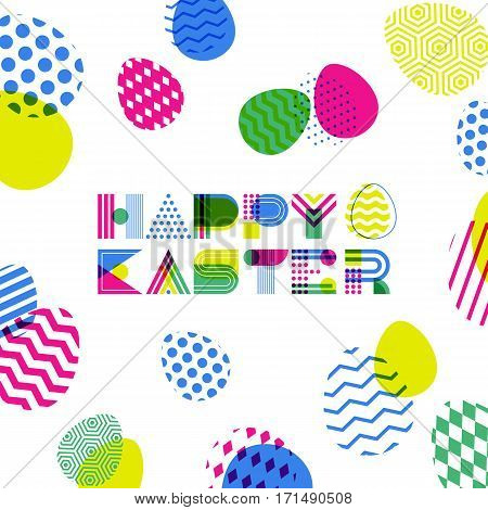 Happy Easter Vector Greeting Card, Banner Or Poster Design Template. Geometric Lettering And Colorfu
