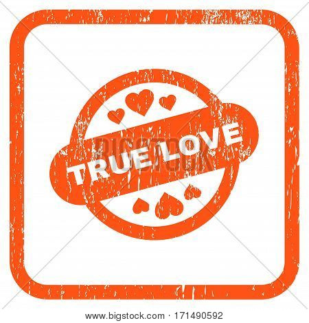 True Love Stamp Seal rubber watermark. Vector icon symbol inside rounded rectangular frame with grunge design and unclean texture. Stamp seal illustration.