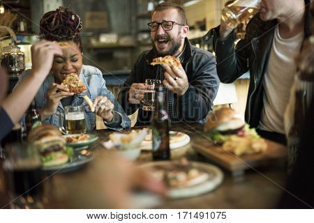 People Enjoy Food Drinks Party Restaurant