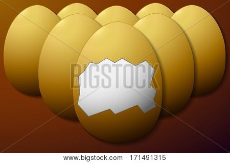 set unshelled eggs in the middle on a brown background