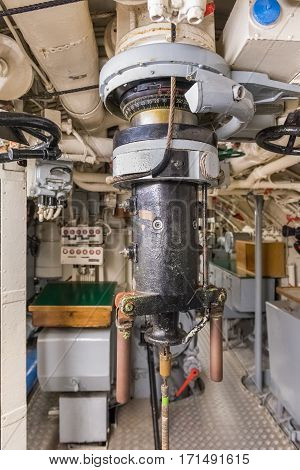 image of a periscope on old submarine