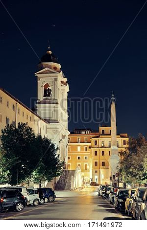 Street view near Spanish Steps at night in Rome, Italy.