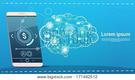 Cell Smart Phone Brainstorming Briefing Idea Creative Concept Business Banner Vector Illustration