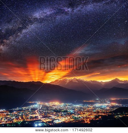 Starry Sky over the city by the sea Sicily