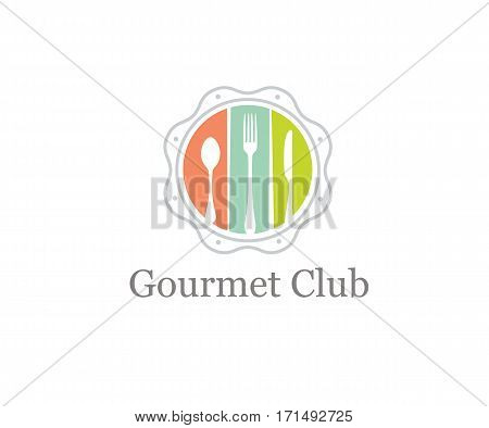 Food Gourmet Club Creative Vector Design Element. Spoon, Fork and Knife Inside Whimsical Circle.