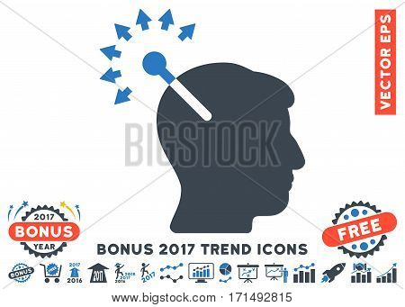 Smooth Blue Optical Neural Interface icon with bonus 2017 year trend clip art. Vector illustration style is flat iconic bicolor symbols white background.