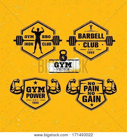 Workout Gym Sport and Fitness Motivation Vector Design Elements on Grunge Background.